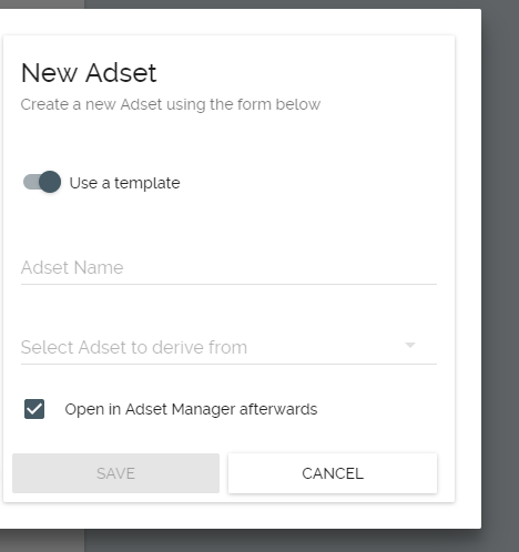 Template and derived Adsets – Weborama Support